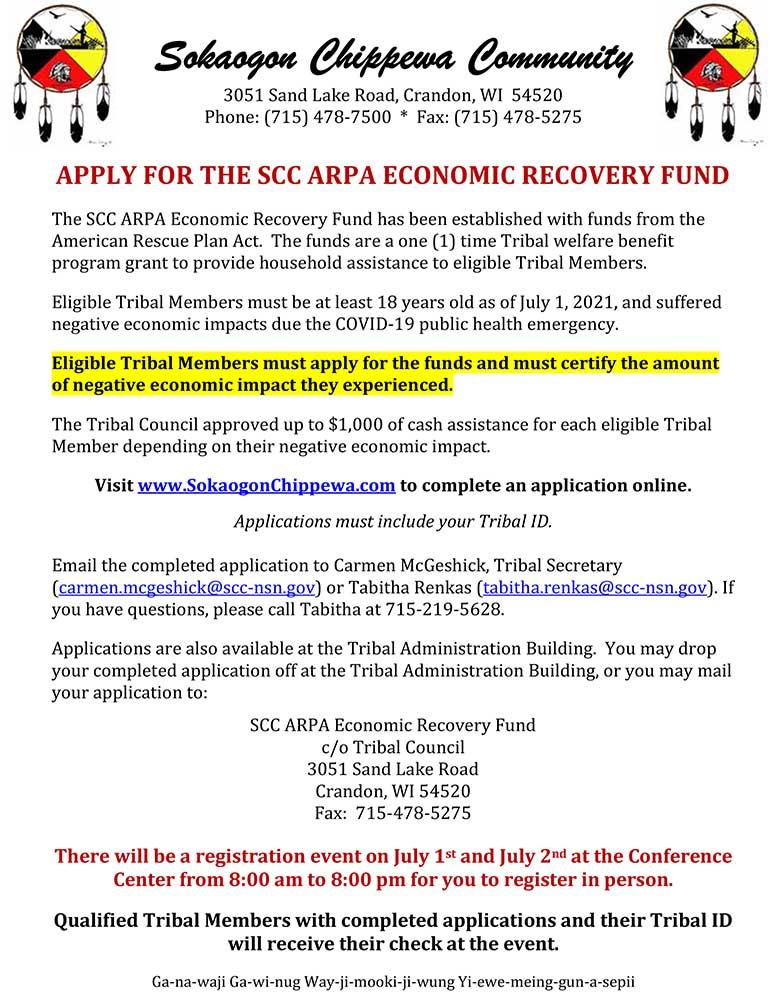 Apply for SCC ARPA Economic Recovery Funds